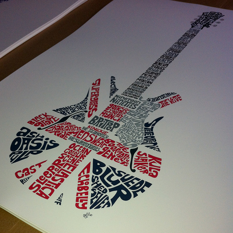 Music Map of British Bands Print