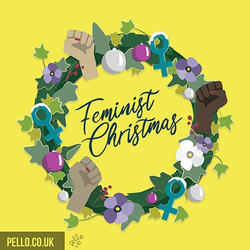 Feminist Christmas wreath card