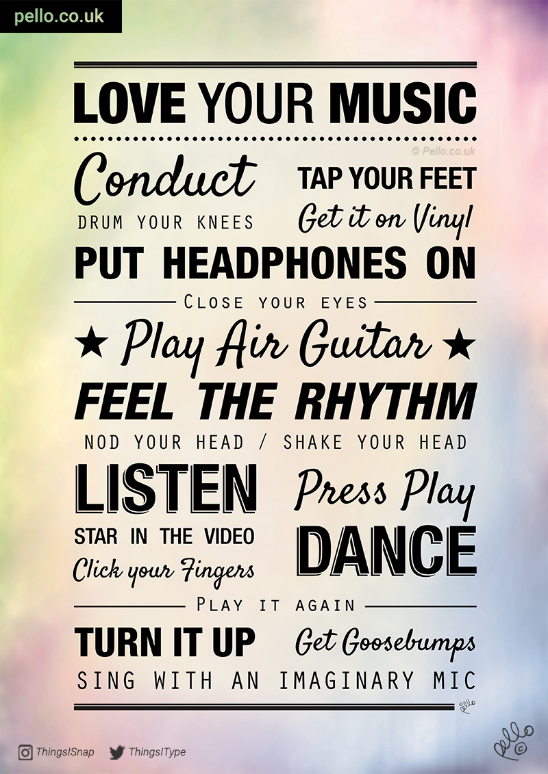 Love your music typographic poster - click to buy a print