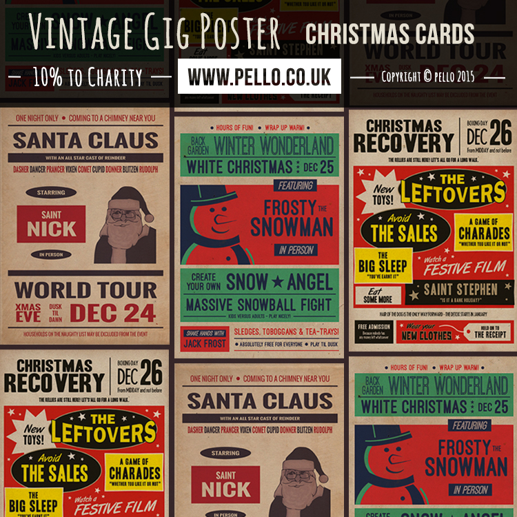 Vintage Retro Gig Poster Christas Cards - Buy from FreedomCreations.co.uk