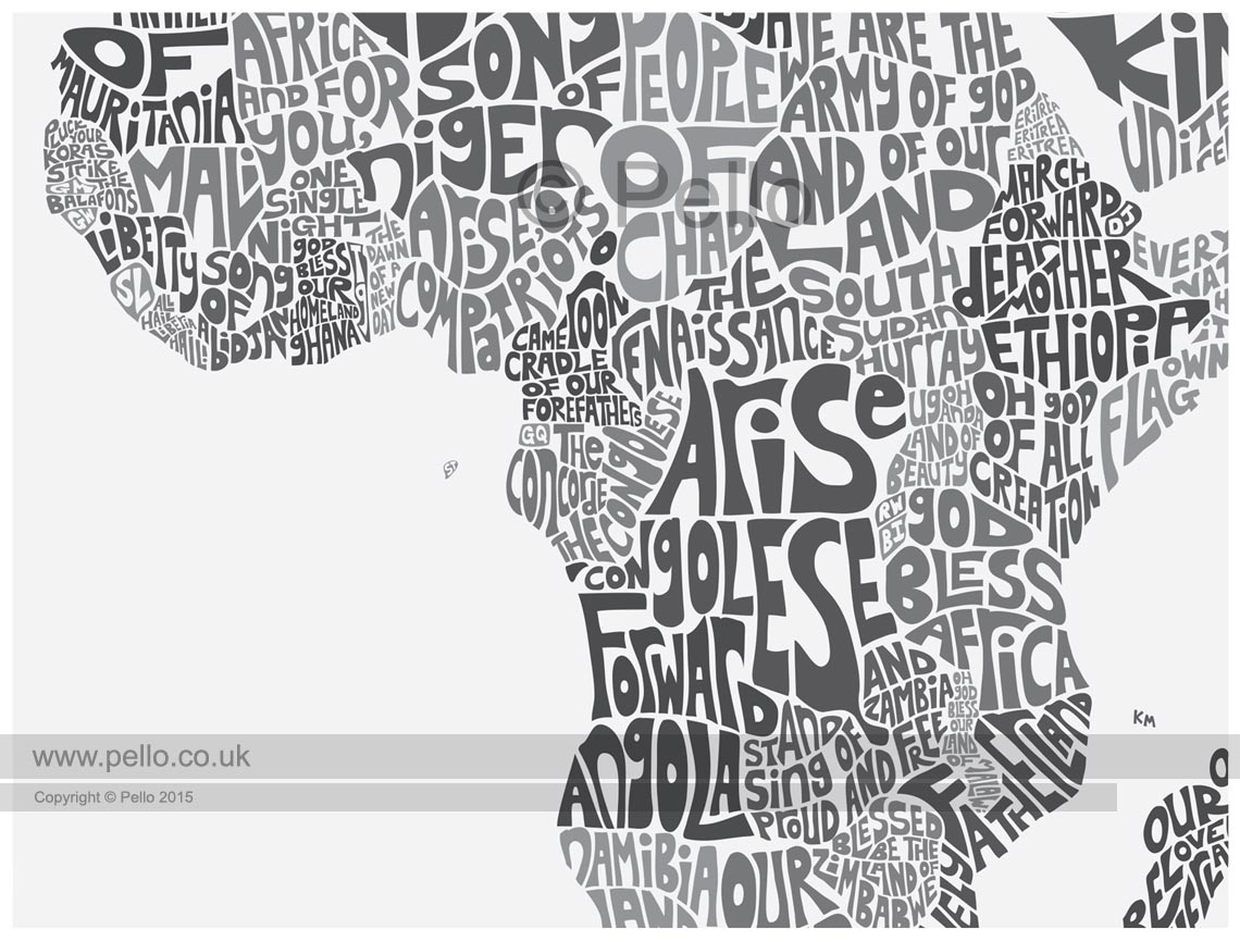 Buy a print of the typographic world map of national anthems