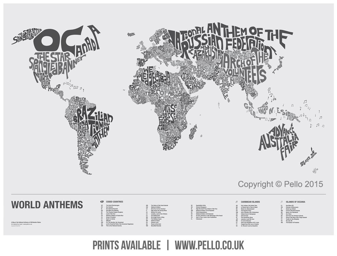 World anthems a typographic map of national anthems of un member buy a print of the typographic world map of national anthems gumiabroncs Images