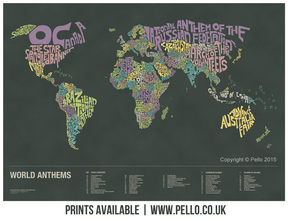 Get more details about the typographic world map of national anthems